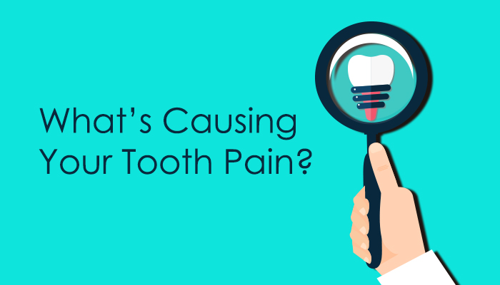 """Title image graphic """"tooth pain causes"""""""