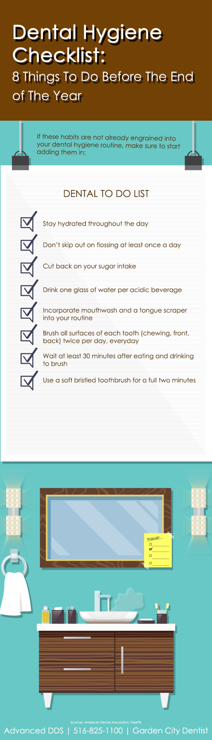 infographic describing 8 dental hygiene things to do before the end of the year