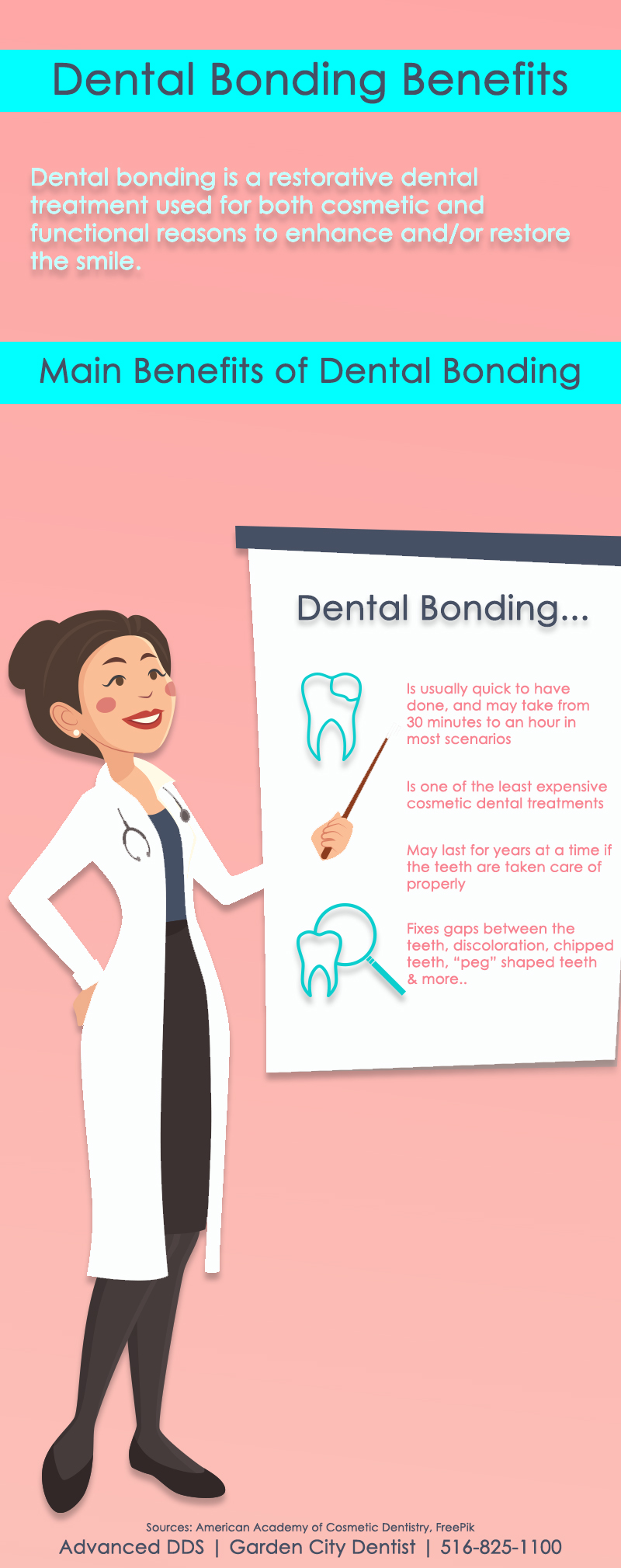 infographic describing the benefits of dental bonding. graphic has a pink background with a bright aqua blue colored text.